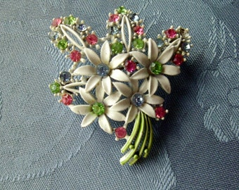 White Enamel Vintage Bouquet Brooch Pin Pastel Rhinestones Blue Green Pink Green
