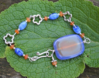 Orange and blue agate Bracelet by practically frivolous