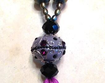 Long Glass Bead Pendant Necklace, Tassle Necklace, Czech Glass Necklace, Purple Necklace