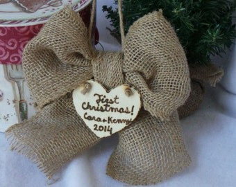 Our First Christmas Ornaments, Burlap Ornament, Couples Gift Ideas, Personalized Ornament