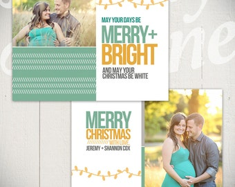 Christmas Card Template: Merry & Bright B - 5x7 Holiday Card Template for Photographers