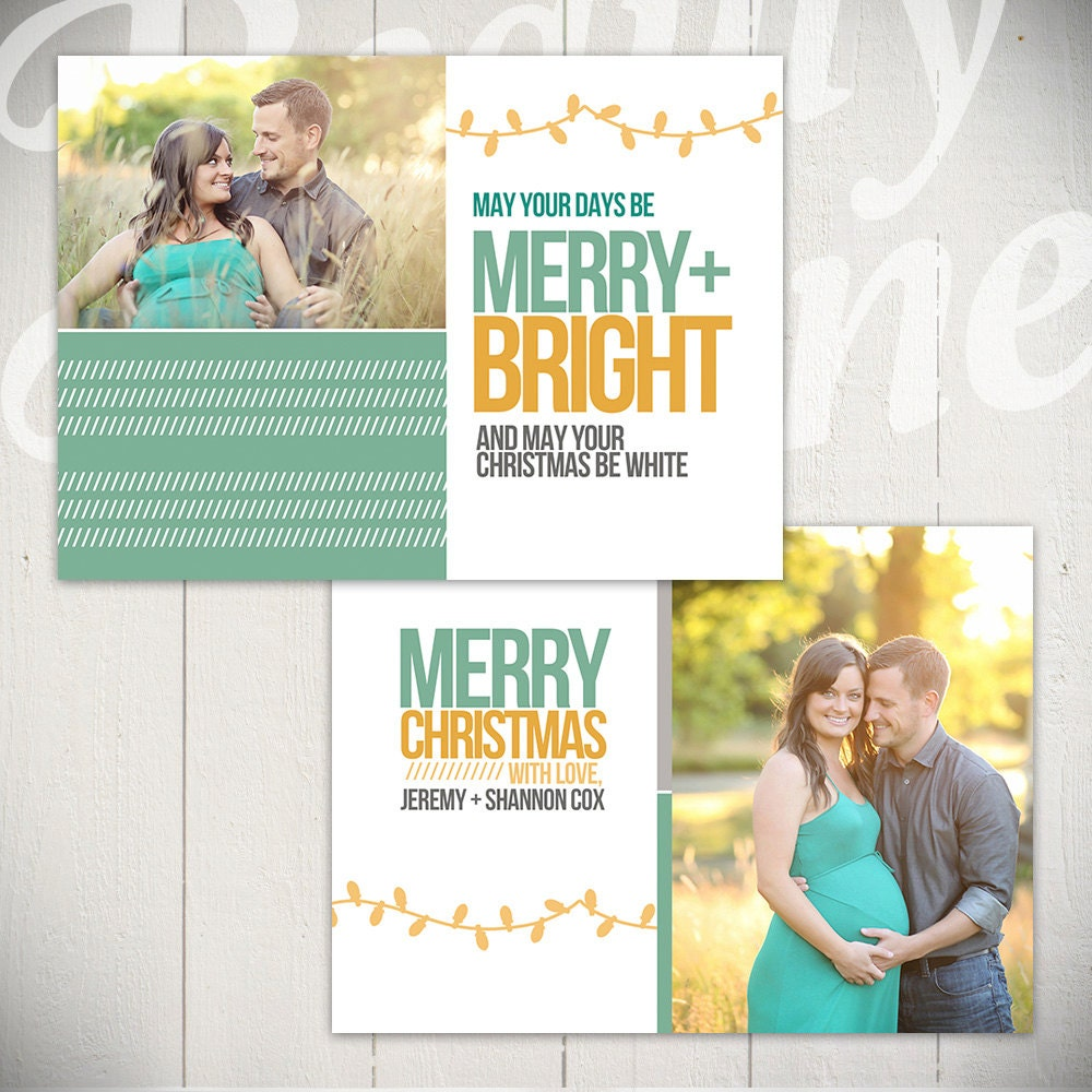 Christmas Card Template: Merry & Bright B 5x7 Holiday Card