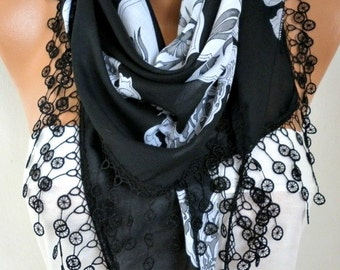 Black Floral Cotton Scarf Teacher Gift Oversized Wrap Necklace Cowl Scarf Gift Ideas for Her Women Fashion Accessories Mother's Day Gift
