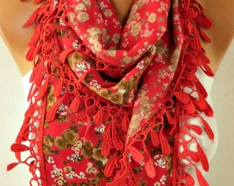 Red Floral Cotton Scarf,fall Winter Scarf,Bohemian,Christmas Gift Cowl Scarf Gift Ideas For Her,for Women's Fashion Accessories