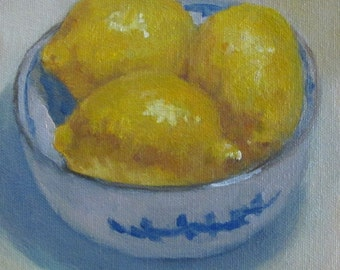 "Lemons Kitchen Still Life Original Oil Painting Modern Impressionist Fruit Painting Blue and White Bowl  6x6"" Jennifer Boswell"