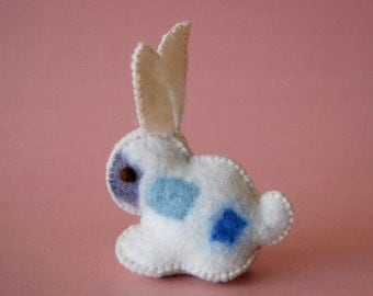 White and Blue Felted Bunny Rabbit Toy -- Unique animal soft sculpture -- Ecofriendly felt animal