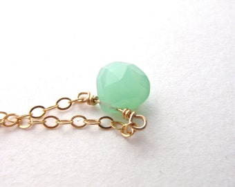 Mini Mykonos Droplet Necklace - Sea Green Chrysoprase - 14k Gold Fill or Sterling Silver
