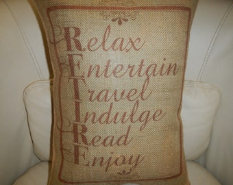 Burlap Accent Pillow  Retirement Decorative pillow