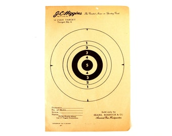 Vintage J.C. Higgins 50 Foot Target  No. 6 Paper Shooting Target, 6 x 9 inches (c.1940s) - Collectible, Cabin Home Decor, Paper Projects,