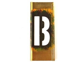 "Vintage Brass Stencil Letter  ""B"" Reese's Interlocking Stencils, 4"" tall (c.1950s) - Monogram Display, Shadow Box Letter, Art Supply"