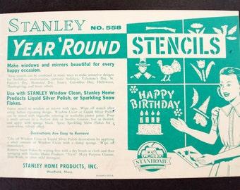Vintage Stanley Year 'Round Stencils No. 558 (c.1950s) - Collectible Stencil Set, Holiday Decor, Window Lettering, Window Stencils