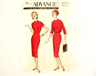 Vintage 1950s Advance Pattern 8713, Misses' Sheath and Blouson Jacket, Unused - Womens Size 14 Sewing Pattern, Collectible