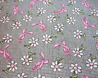Breast Cancer Awareness Fabric Black White Check Pink Ribbon Daisies Rare HTF Fat Quarter New BTFQ