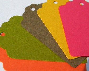 250 Paper Tags in fall colors - colorful paper tags- use as fall wedding tags or merchandise tags