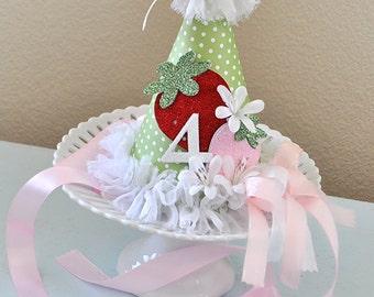 Girls Berry Sweet Strawberry Birthday Hat