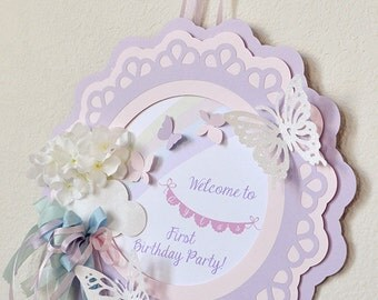 Butterfly Wishes Birthday Welcome Sign