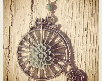 Flower High Wheel Bike Pendant-Silver Bicycle and Blue Grey Dahlia Necklace