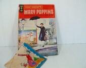 Mid Century Walt Disney's Mary Poppins Comic Book & Signed Colorful Cloth Hankie - Vintage Gold Key Publication Julie Andrews/Dick Van Dyke