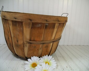 Vintage Oversized Round Wooden Fruit Basket - Farm Fresh From the Barn to You - Large Photo Prop Bin Rustic Primitive Farm Fresh Catch All
