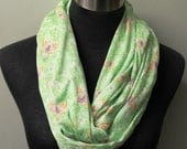 Light Knit, Bright Green, Butterfly Pattern Infinity Scarf