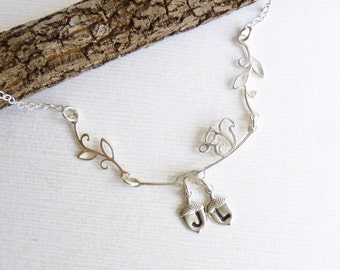 Sterling Silver Squirrel with Acorn Initials Necklace -- Personalized -- Couples -- Mothers Necklace