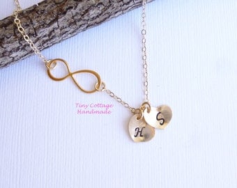 Gold Infinity Two Initial Necklace -- 14k Gold Filled Chain -- Personalized -- Friendship -- Couples -- Mothers Necklace