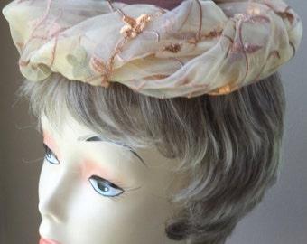 Fascinator, Brown Fascinator, Silk fascinator, Velvet Flowers,  Fall Fascinator,  Embroidered Chiffon Trim Fall Hat