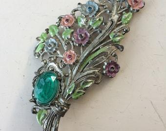 Vintage enamel pot metal and floral brooch