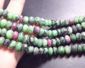 8'' Gorgeous 100% Natural Ruby Zoisite Faceted Roundelle Beads 8x8MM Wholesale Price