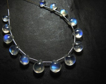 """Rainbow Moonstone Gemstone Smooth Briolette Heart Drop 5x7mm to 9x11mm 8"""" AAA High Quality Blue Fire Wholesale Price"""