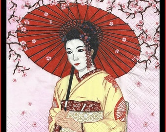 Geisha decoupage paper napkins, lot of 4 napkins, plus many other designs in my shop