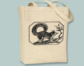 Vintage Squirrel in Frame Illustration on Natural or Black Tote -- selection of sizes available