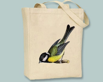 Beautiful Vintage Green and Yellow Bird illustration on Canvas Tote -- Selection of  sizes available