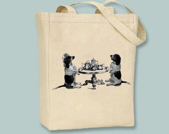 Basset Hound Tea Party illustration on zip top Canvas Tote -- Selection of  sizes available