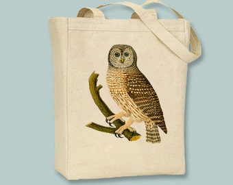 Beautiful Owl Vintage Illustration Canvas Tote -- Selection of sizes available