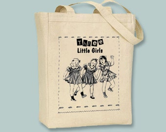 Three Little Girls Vintage Illustration Canvas Tote - Selection of sizes available, ANY IMAGE COLOR