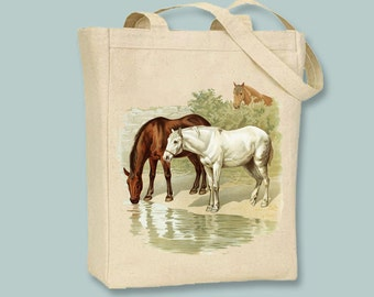 Three Horses Vintage Illustration Canvas Tote -- Selection of Sizes available