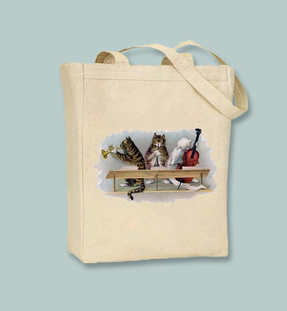 Cats Playing Instruments Canvas Tote  -Selection of sizes available
