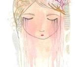 Original Painting Crying Girl Bedroom Art Sad Tears 4 x 6 Art by Coramantic