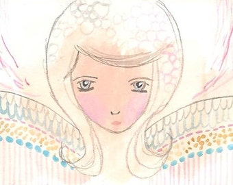 ACEO Original, Angel Illustration, Whimsical Angel ACEO, Original Art, 2.5 x 3.5, ATC, Angel gift, Valentine, My Guardian Angel