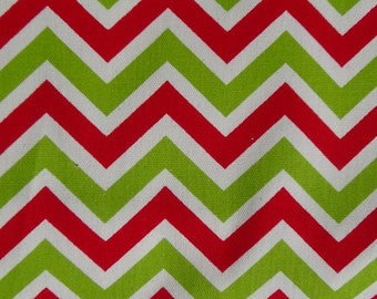 One yard zigzag green red white cotton duck fabric