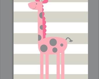 Giraffe and Stripes, Pink, Nursery Print, Giraffe Nursery Decor- Print