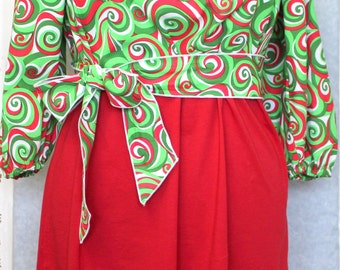 Plus Size Dress, Womens Christmas Dress, Extra Large Womens Dress, Womens Clothing, Dress, Holiday/Christmas, Peasant Dress, Red/Green/White