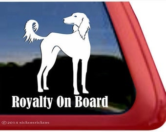 Royalty On Board | DC998OB | High Quality Adhesive Vinyl Saluki Window Decal Sticker