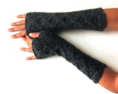 Knit Fingerless Gloves Soft Mitts Charcoal Gray Hand Warmers Warm Arm Warmers Alpaca Womens Arm Warmers Wool Cable Fingerless Mittens KG0067