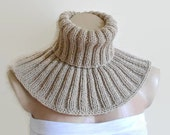 Beige neckwarmer, Men scarf, cozy, soft, unisex, circle, winter fashion, hand-knitted, unique gift