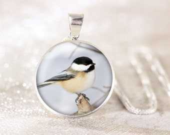 Silver Chickadee Necklace - Sterling Silver Bird Necklace, Real Silver Bird Jewelry, Sterling Silver Chickadee Jewelry, Nature Jewelry Gift
