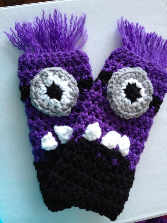 Crochet Pattern Evil Minion Fingerless Gloves