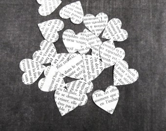 200 Vintage French Text Hearts, Handmade Die Cuts, Party Decor, Confetti, Weddings, Showers
