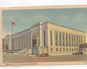 """Tennessee, Postcard,  """"New Post Office, Nashville, Tennessee,""""  1940s,  #507-2."""